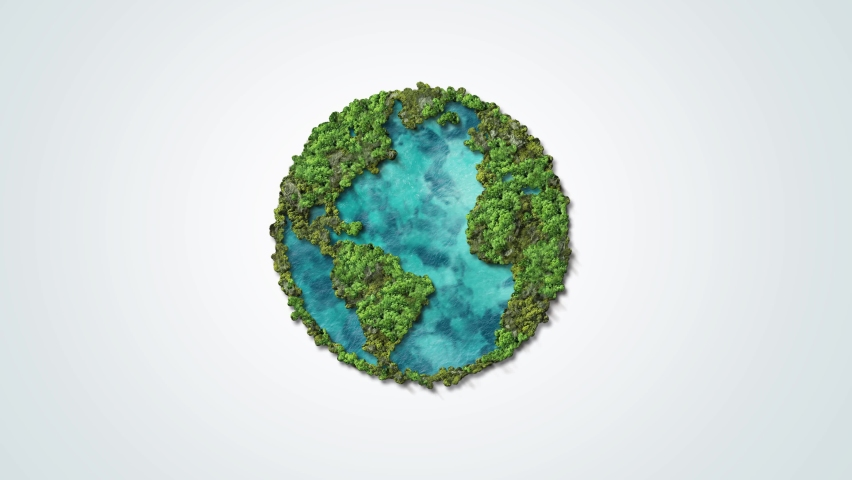 Green World Map- Earth day video tree or forest shape of world map isolated on white background. Earth Day or Environment day Concept. Green earth with electric car. Paris agreement concept. Royalty-Free Stock Footage #1070893450