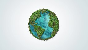 Green World Map- Earth day video tree or forest shape of world map isolated on white background. Earth Day or Environment day Concept. Green earth with electric car. Paris agreement concept.