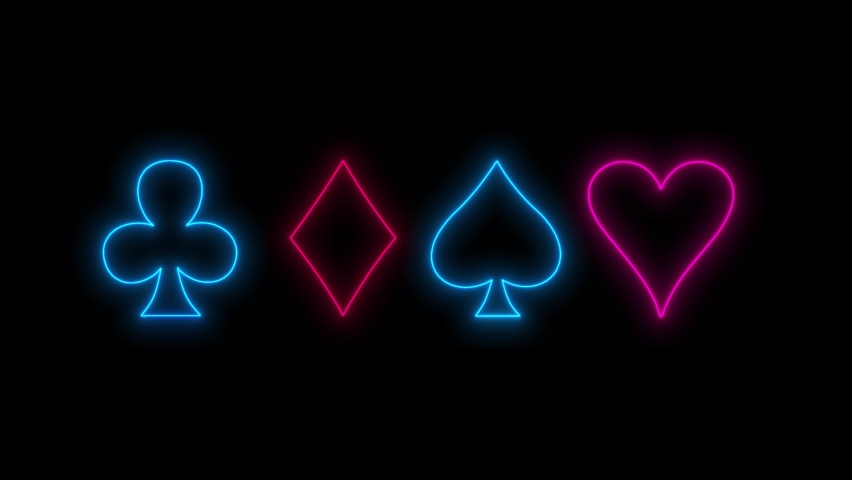 The neon signs of card suit icons light up and go out. Abstract animation background. Concept of online casino and bet | Shutterstock HD Video #1070907829