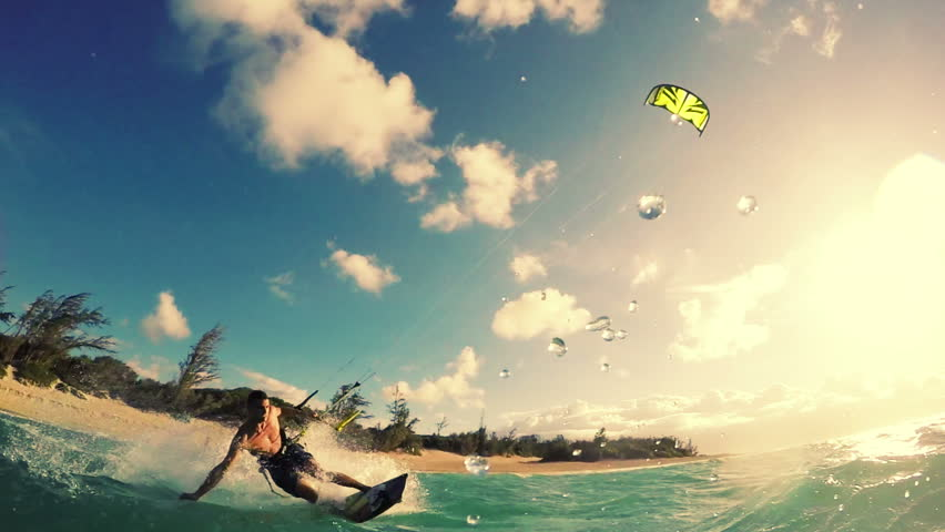 Extreme Kite Boarding Trick Over Camera In Ocean. Summer Sports in Slow Motion HD.