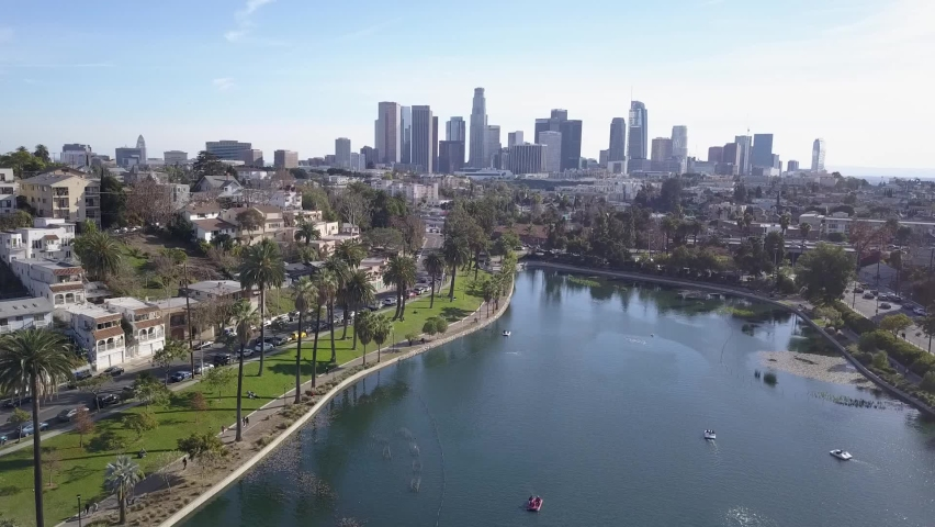 Echo park lake los Angeles aerial | Shutterstock HD Video #1070938132