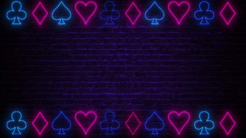 The neon signs of card suit icons light up and go out. Abstract animation background. Concept of online casino and bet. Template for copy space text or your casino logo | Shutterstock HD Video #1070946439
