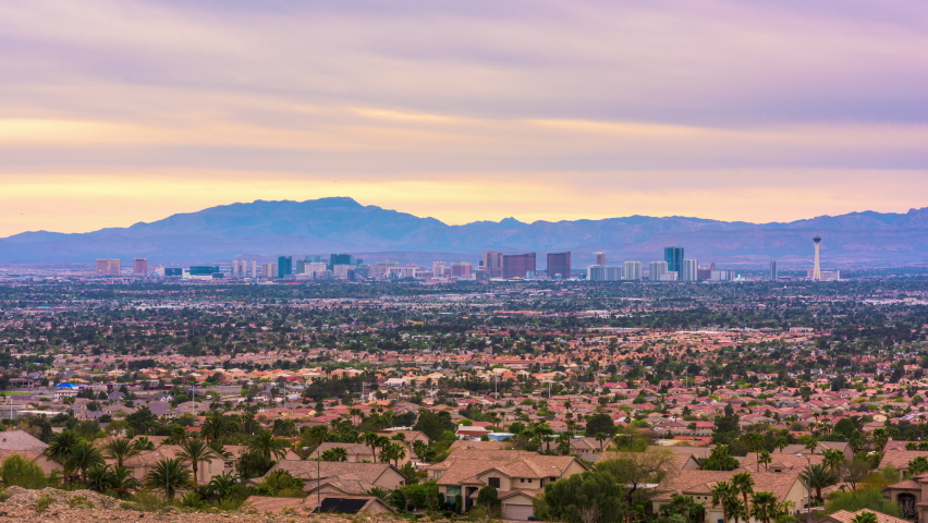 Las Vegas, Nevada, USA skyline from over residential suburbs at night. | Shutterstock HD Video #1070947822