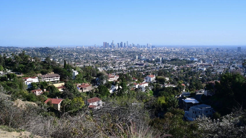 Los Angeles skyline on a perfectly blue sunny day. | Shutterstock HD Video #1070951962