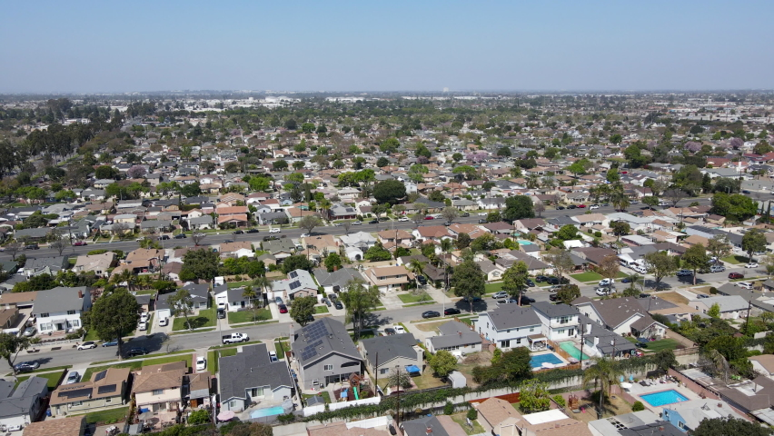 Aerial view of Lakewood middle class neighborhood, city in Los Angeles County, California, United States. | Shutterstock HD Video #1070969131
