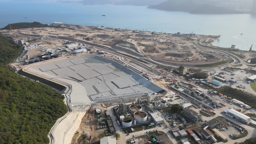 New Territories Land development and leveling and construction Landfill in Lohas Park,Tseung Kwan O of Hong Kong city, Kowloon Aerial Top view | Shutterstock HD Video #1070971252