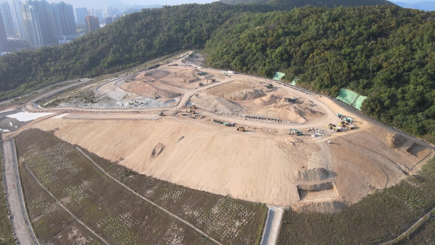 New Territories Land development and leveling and construction Landfill in Lohas Park,Tseung Kwan O of Hong Kong city, Kowloon Aerial Top view | Shutterstock HD Video #1070971258