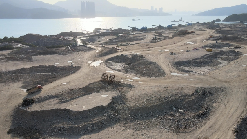 New Territories Land development and leveling and construction Landfill in Lohas Park,Tseung Kwan O of Hong Kong city, Kowloon Aerial Top view | Shutterstock HD Video #1070971270