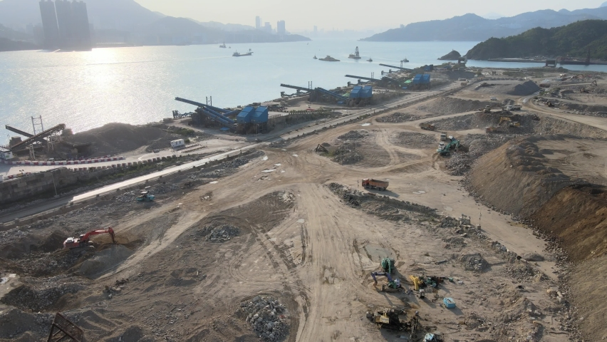 New Territories Land development and leveling and construction Landfill in Lohas Park,Tseung Kwan O of Hong Kong city, Kowloon Aerial Top view | Shutterstock HD Video #1070971273