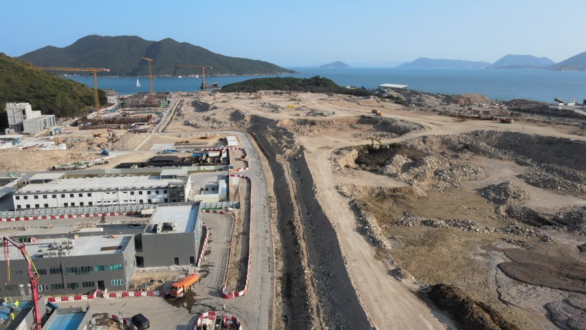 New Territories Land development and leveling and construction Landfill in Lohas Park,Tseung Kwan O of Hong Kong city, Kowloon Aerial Top view | Shutterstock HD Video #1070971279