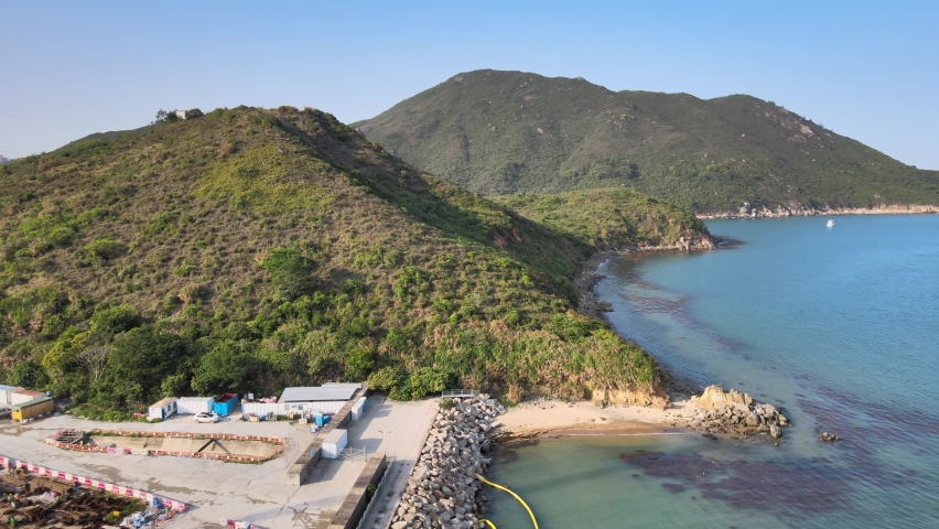 New Territories Land development and leveling and construction Landfill in Lohas Park,Tseung Kwan O of Hong Kong city, Kowloon Aerial Top view | Shutterstock HD Video #1070971297