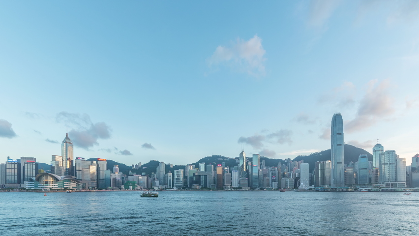 Time lapse of panorama of Victoria Harbor of Hong Kong city from day to night | Shutterstock HD Video #1070991283