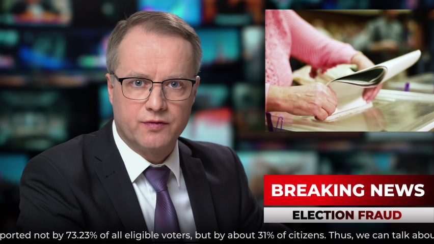 TV studio news male anchor presenter talking breaking news about elections