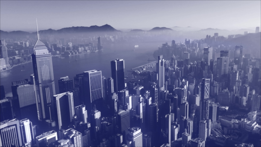 AERIAL. Digital concept of financial market with Hong Kong city background.  | Shutterstock HD Video #1071012874