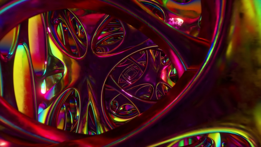 Flying through an abstract alien structure illuminated by neon lights. Modern ultraviolet lighting. 3d Animation of seamless loop | Shutterstock HD Video #1071015616