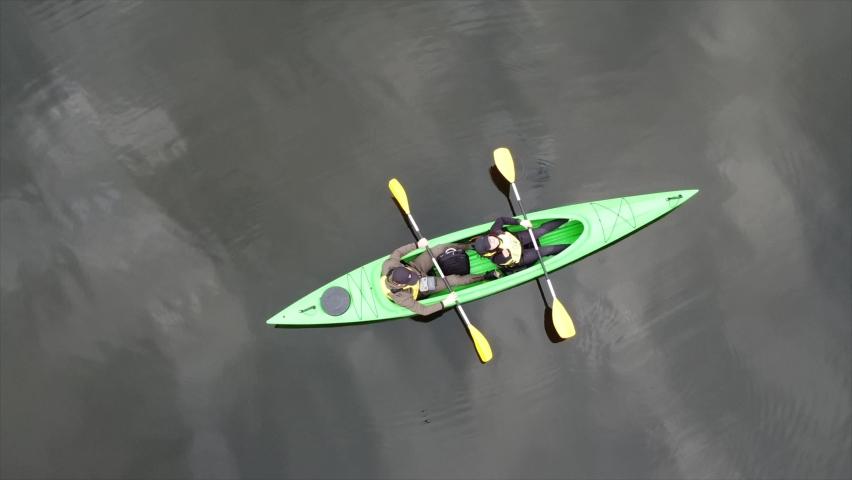 Rowing on a kayak drone shooting in dievskie floodplain 4K | Shutterstock HD Video #1071015841