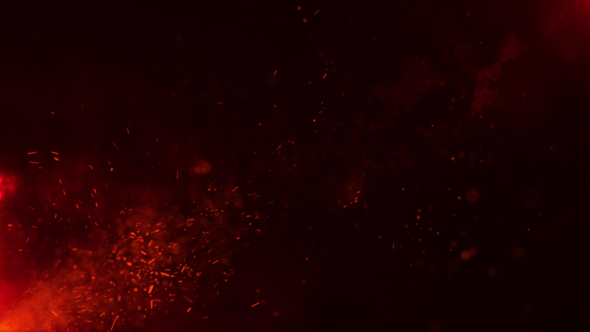Beautiful burning hot sparks rising from large fire in night sky. Abstract fire glowing particles on black background | Shutterstock HD Video #1071016024