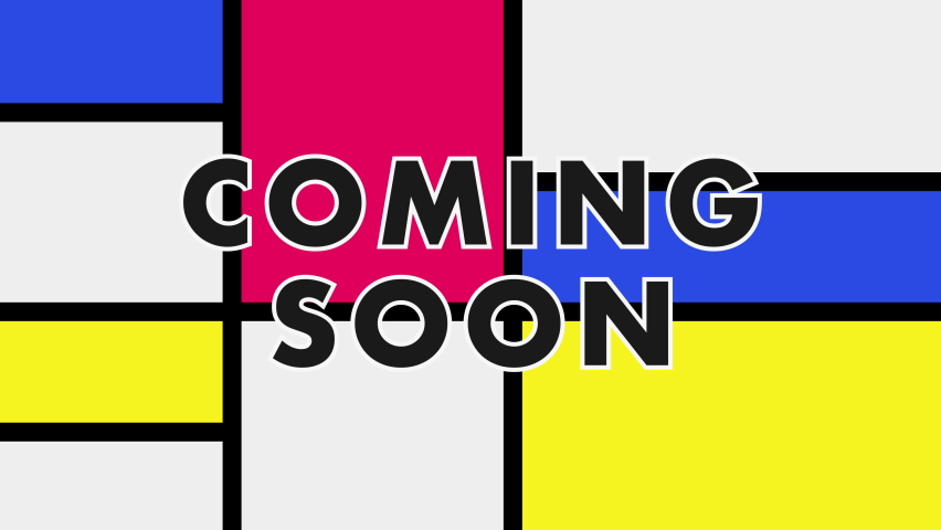 Coming soon text on Mondrian design style old fashioned graphic background animation | Shutterstock HD Video #1071016066