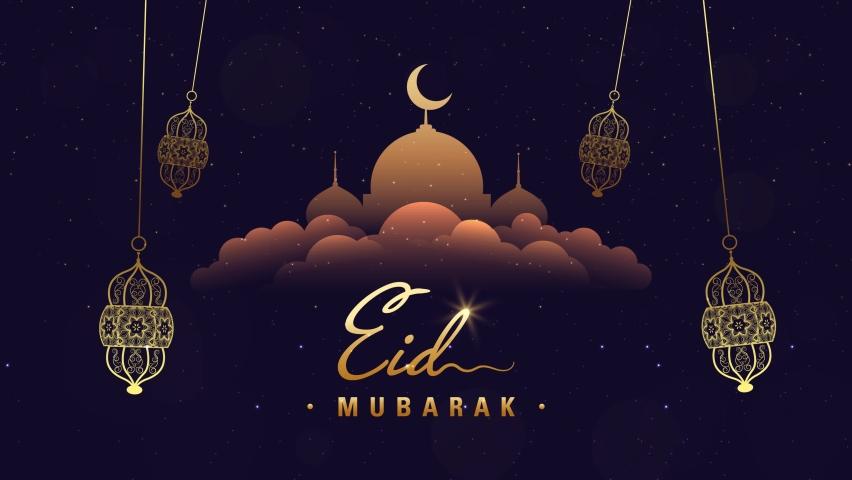 Happy eid greeting motion design animation. Beautiful 4k eid mubarak islamic design concept with hanging ramadan candle lantern and mosque. Royalty-Free Stock Footage #1071055237