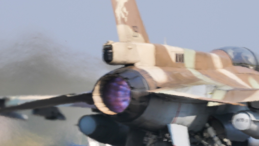 Andravida Airport, Greece 04.03.2019 Close-up of the lit afterburner of a fighter plane taking off. Lockheed Martin F-16 Fighting Falcon or Viper of Israel Air Force