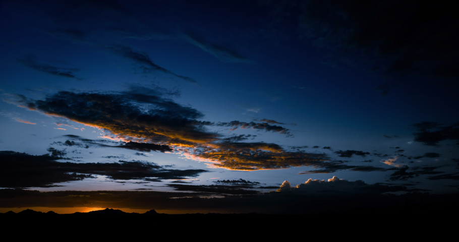 Desert sunset from twilight to night