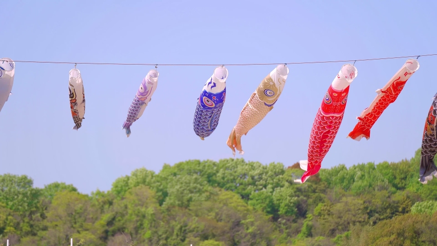 Carp streamer and blue sky landscape | Shutterstock HD Video #1071122146