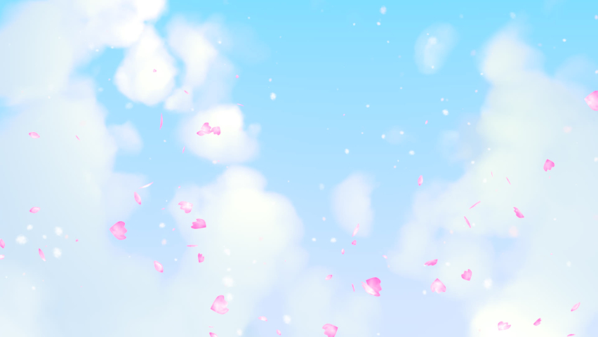 Looped beautiful sakura cherry blossom petals falling in the blue sky animation. | Shutterstock HD Video #1071124765
