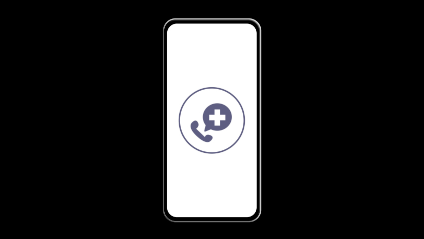 Call the doctor. Animation of the phone on a transparent background with the icon of the call to the medical facility. 4K motion   Shutterstock HD Video #1071138574