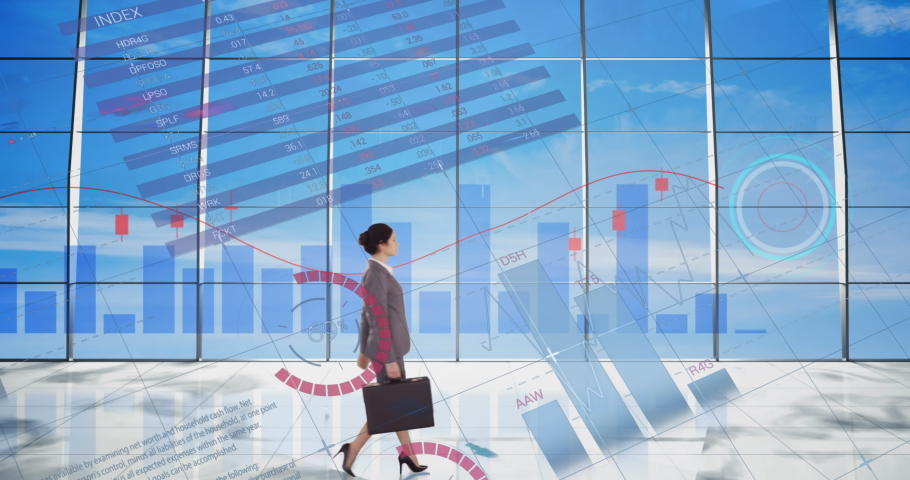 Statistical data processing over businesswoman against blue sky in background. global finance and business concept | Shutterstock HD Video #1071138694
