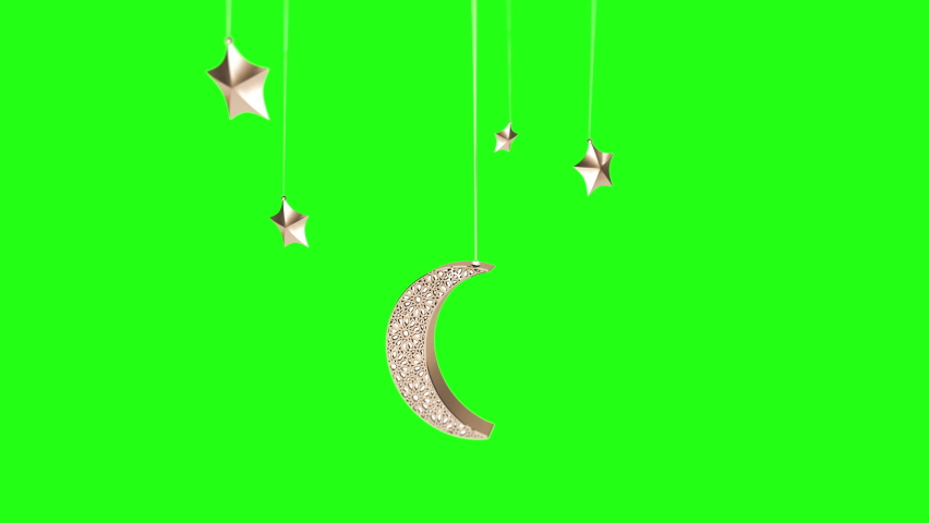 Ramadan Hanging Moon and Star from Top and Disapear with particles effects on Green Screen Background   Shutterstock HD Video #1071138745