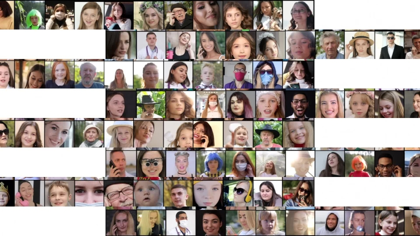 Collage of smiling multiethnic people. Concept people portraits  | Shutterstock HD Video #1071139048