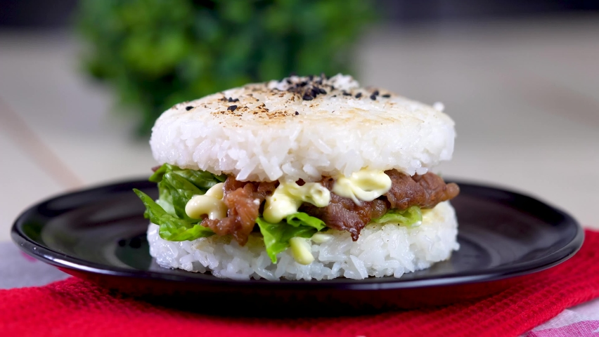 Delicious homemade yakiniku rice burger  | Shutterstock HD Video #1071139162