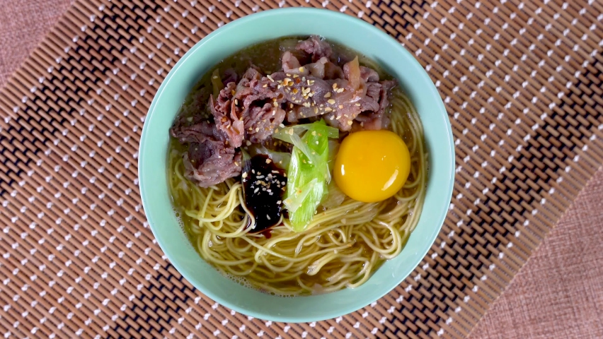 Mix of traditional ramen and gyudon  | Shutterstock HD Video #1071139168