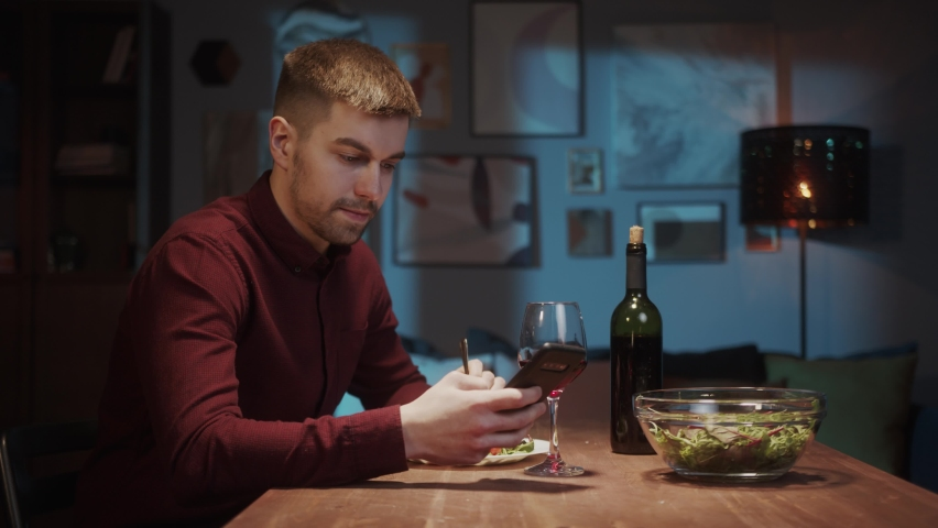 Romantic couple dinner online, Woman and man Online dating, video chat conference call, lovers on long distance during coronavirus covid 19 lockdown. | Shutterstock HD Video #1071142954