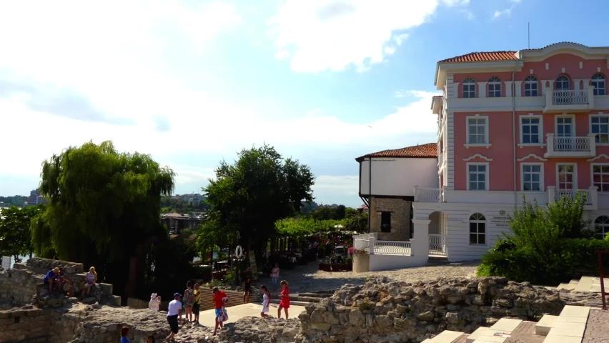 NESSEBAR, BULGARIA - JULY 19 2016: Ritual Hall. City municipality. Beautiful building. Castor town. Peninsula.
