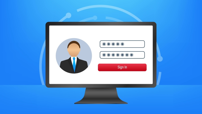 Login page on laptop screen. Notebook and online login form, sign in page. User profile, access to account concepts. illustration. Royalty-Free Stock Footage #1071189739