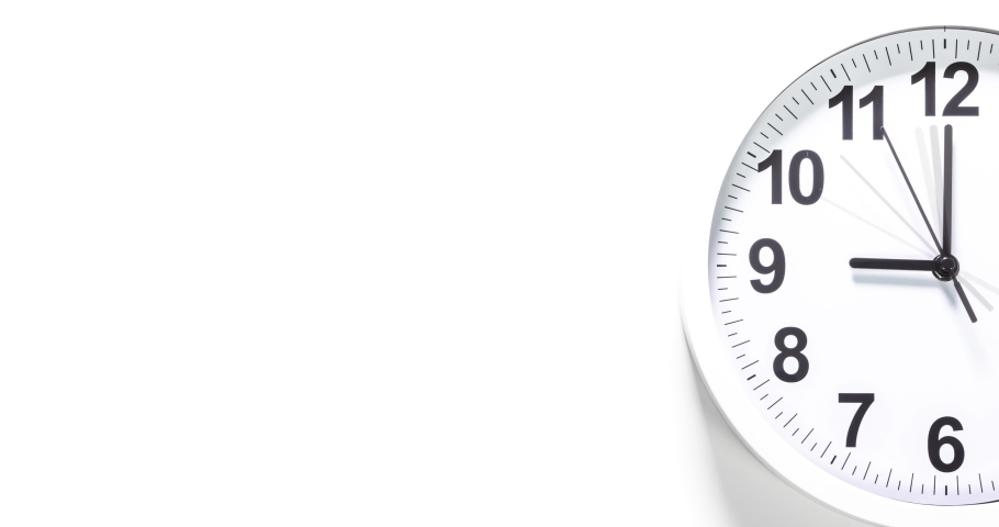 Clock face time lapse on white background with copy space for your own text. Clock time ticking on a classic Wall Clock. Shadows moving over the Watch. Half of a Clock dial close-up isolated.  Royalty-Free Stock Footage #1071271090