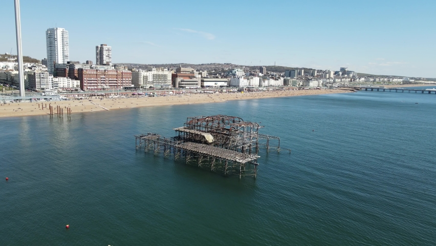 Brighton UK Aerial 2021 footage 4K derelict, old, Pier Royalty-Free Stock Footage #1071334582