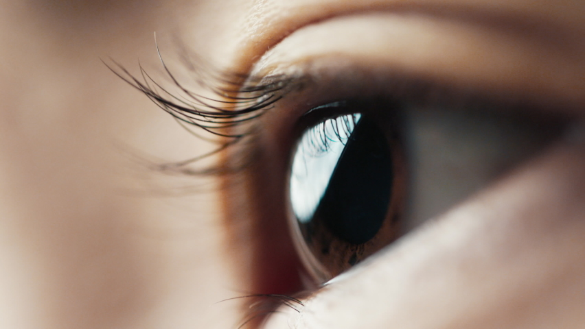 Eye Human with Beautiful Brown Iris Macro Shot. Bright Beauty Female Open Eyes with Pupil Dilation. Extreme Close-up Asian Girl Clear Looking Forward. Contracting Eye Iris on Light. View Concept 4k Royalty-Free Stock Footage #1071346678