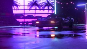 Car and city in neon cyberpunk style. 80s retrowave background 3d animation. Retro futuristic car drive through neon city.