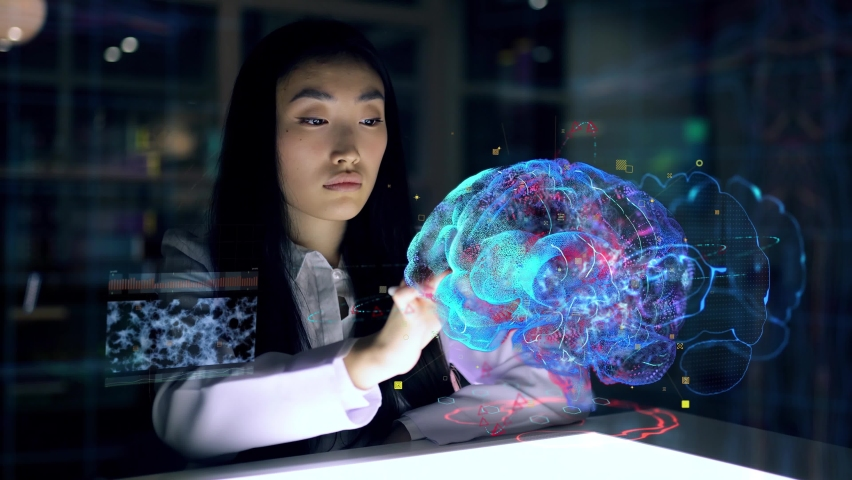 Asian woman Scientist work on 3D Simulated holographic Neural Brain Interface. Engineer using Augmented Holographic Technology. Artificial Intelligence Concept