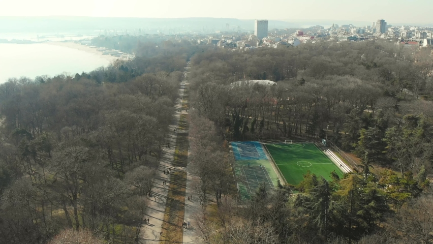 Aerial Cinematic footage clip: Drone flying over The Monument of the Fighters Against Fascism, also known as The Pantheon of the Fallen of the Wars, situated in the Sea Garden of Varna, Bulgaria. | Shutterstock HD Video #1071628048