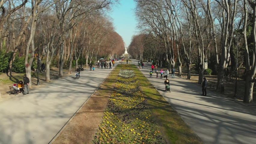 Aerial Cinematic footage clip: Drone flying over Sea Garden in Varna, Bulgaria Tulip bloom in Garden. Colorful blooming fields and flower alleys. | Shutterstock HD Video #1071628405