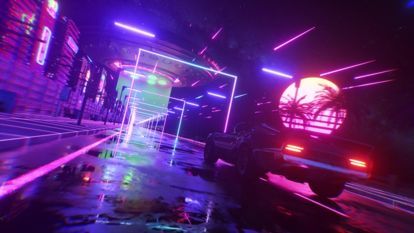 Car and city in neon style. 80s retro wave background 3d animation. Retro futuristic car drive through neon city. 3d render of seamless loop   Shutterstock HD Video #1071633055