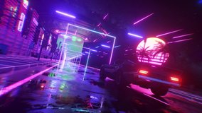 Car and city in neon style. 80s retro wave background 3d animation. Retro futuristic car drive through neon city. 3d render of seamless loop