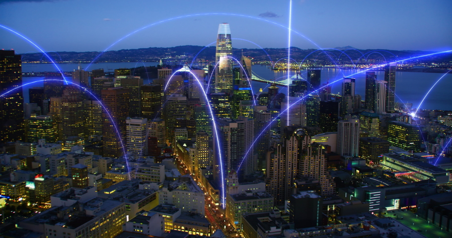 Smart City Aerial Footage Hologram Information Blue Arches Forming Network Communication Futuristic Technology. San Francisco. Shot in 8K. Royalty-Free Stock Footage #1071636844