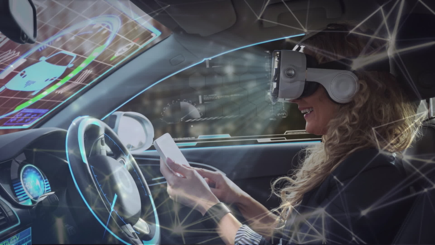 Network of digital icons against woman wearing vr headset using digital tablet in self driving car. computer interface and futuristic technology concept
