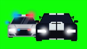 Cop car is chasing an intruder car. Animation video clip with green screen background.