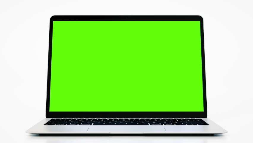 Empty Green Screen Display Laptop for Watching and Paste Background e Business Blog or Gaming App. Copy 3d Pc with Clear Chroma Key for Mockup. Concept Computer Technological on Video Call Close-Up 4k Royalty-Free Stock Footage #1072000261