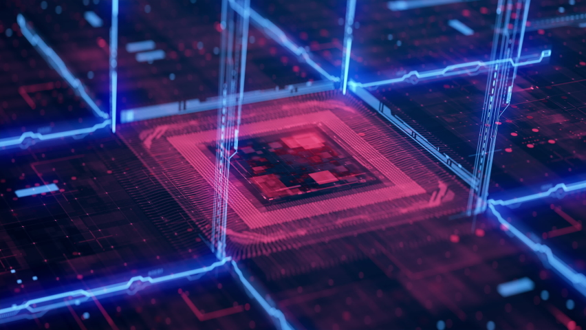 Technology Background CPU Circuit. 3D visualization AI Processor Power. Colorful Red and Blue Digitalization Process. Data Transmission in Futuristic Board Chip Virtual Computer Animation Closeup 4K Royalty-Free Stock Footage #1072010995